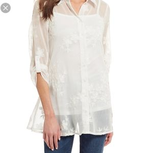 Cupio | Sheer Embroidered Floral Button Up Top